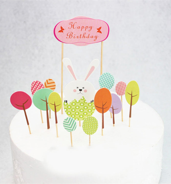 12/Set Cute Rabbit Cake Cupcake Flags Toppers Decorative For Kids Birthday Party