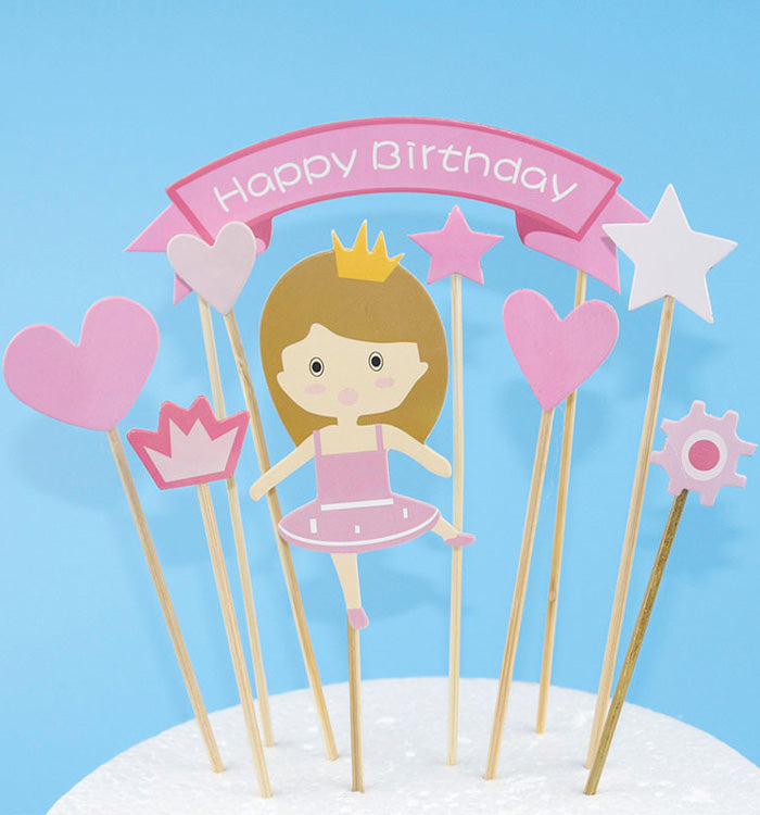 Pink Princess Girl Cake Cupcake Flags Toppers Decorative For Kids Birthday