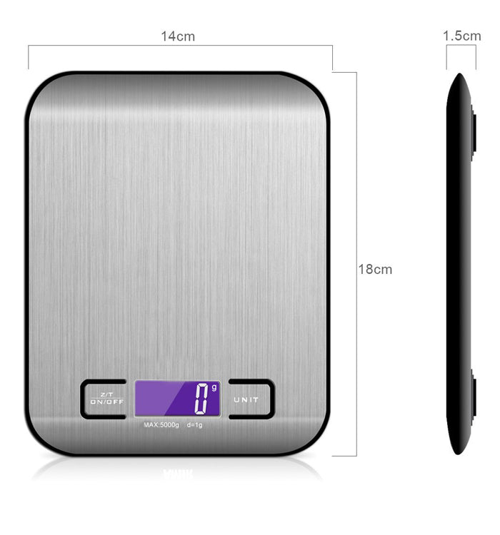 Digital Kitchen Scale Stainless Steel Food Cooking Multifunction Scale, 11 lb/5 kg