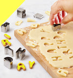Alphabet & Numerals Shapes Biscuit Cookies Fondant Cutters Moluds Set