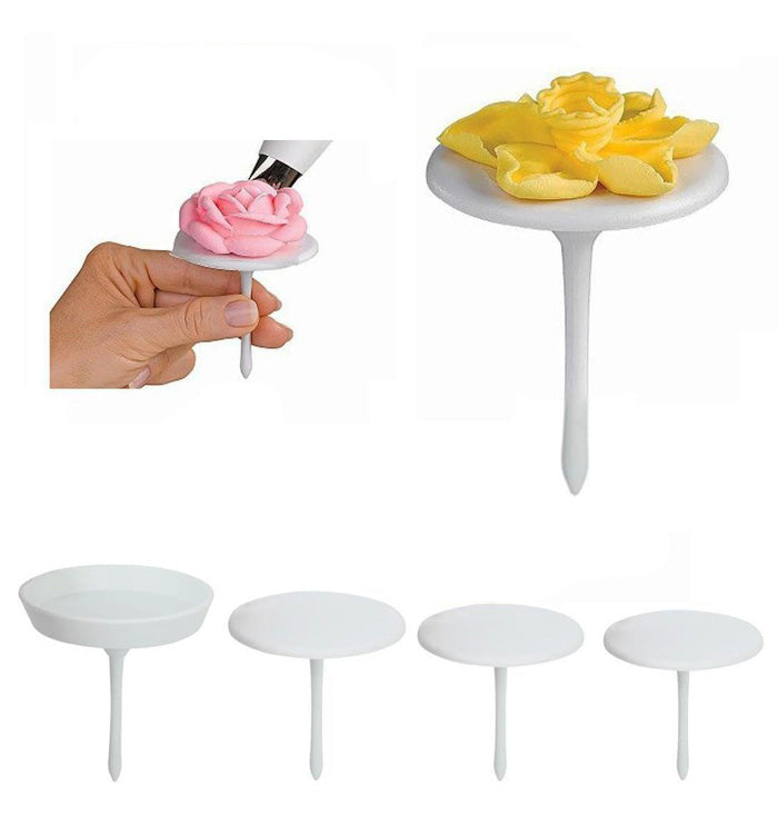 4Pcs Cupcake Stand Icing Cream Flower Nails Set Sugarcraft Decorating Tool