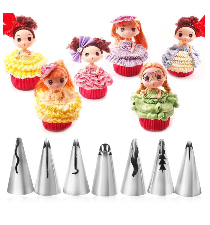 7Pcs Dress Ruffle Icing Piping Nozzles Pastry Tips for DIY Cake Decoration