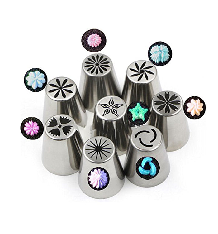8pcs Russian Tulip Flower Tips Cake Icing Piping Nozzles Set For Cake Decoration