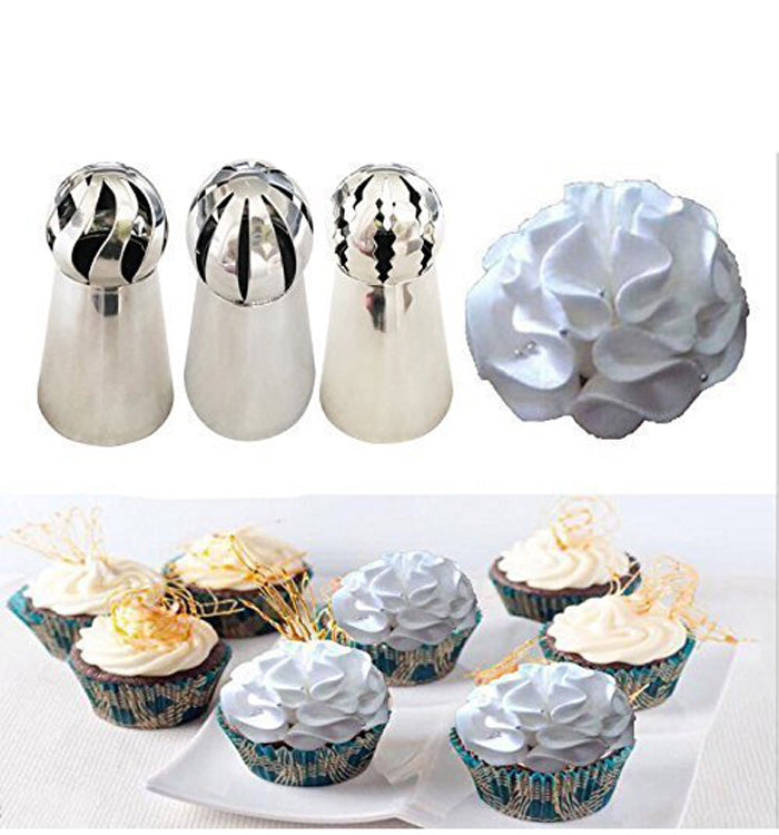 3pcs Russian Sphere Ball Flower Ball Tips Cake Icing Piping Nozzles Set