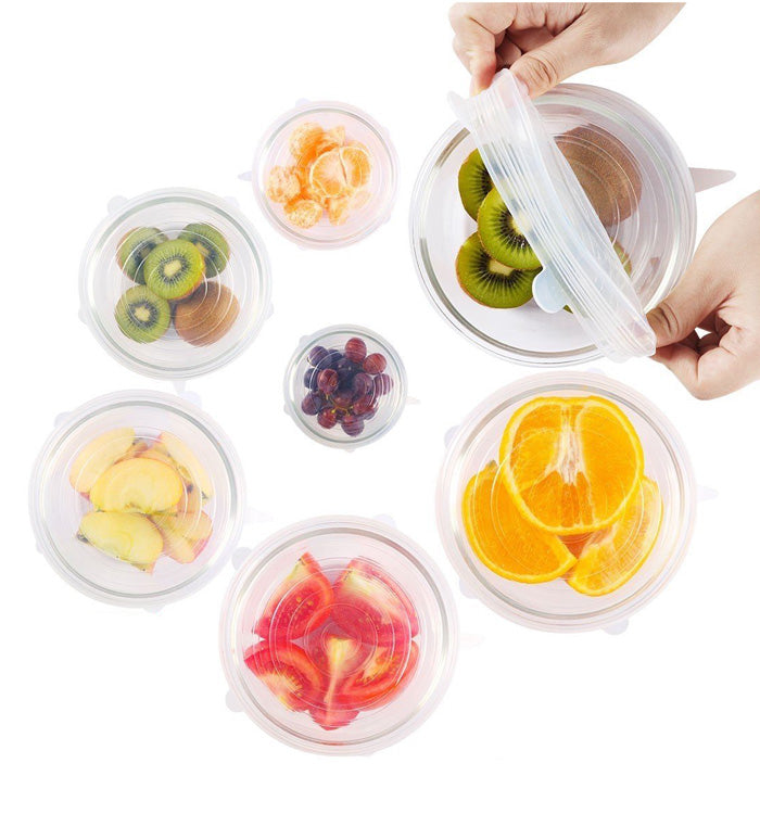 6Pcs Silicone Stretch Lids Cover Reusable Food Seal Wrap for Bowls