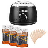 Black Wax Warmer Hair Removal Kit with 3 pack Hard Wax Beans and 10 Wax Applicator Sticks