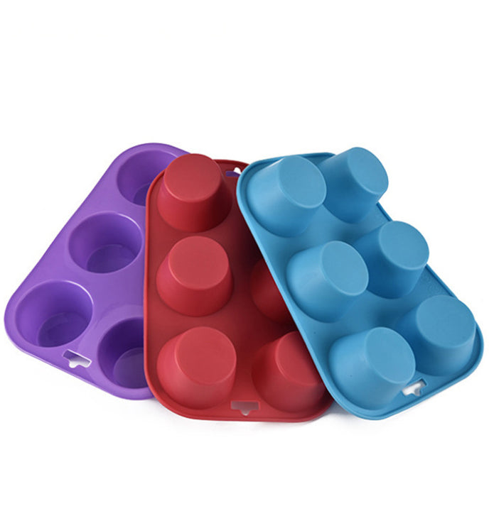 6 Cavity Silicone Cupcake Cake Muffin Pudding Baking Tray Pans Moulds