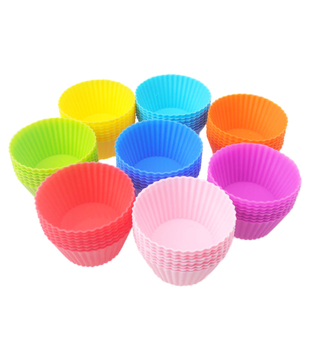 12Pcs Colorful Reusable Silicone Cupcake Muffin Cups Cake Moulds Baking Tools