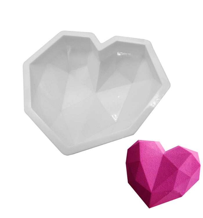 3D Silicone Diamond Love Heart Mousse Cake Mould Tray Baking Pan