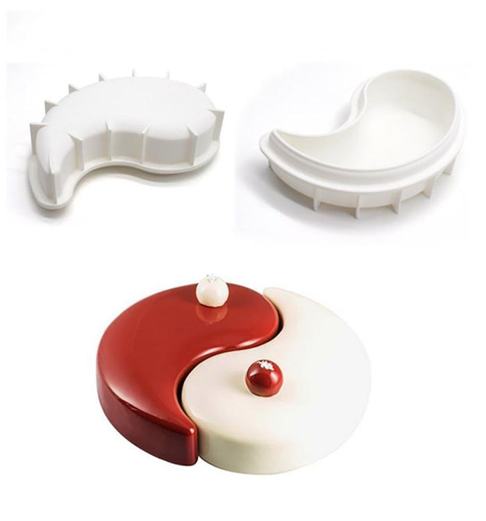 2Pcs Yin Yang Tai Chi Silicone Mousse Chocolate Cake Mould Pan