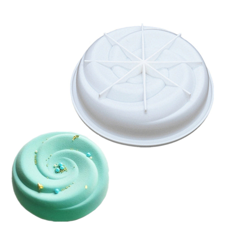 3D Spiral Round Silicone Mousse Chocolate Truffle Cake Mould