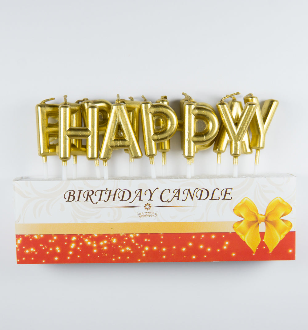 13 Gloden Happy Birthday Letter Smokeless Candles