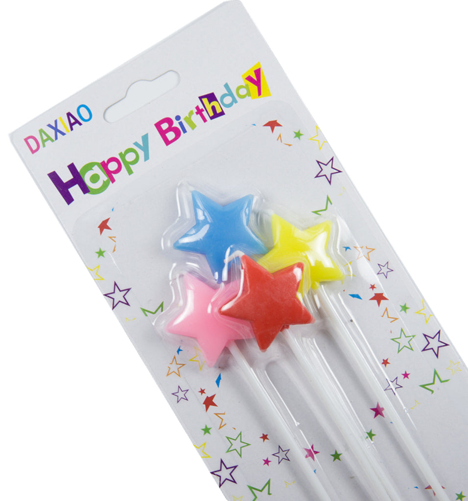 4 Colourful Stars Party Birthday Cake Cupcake Topper Candles