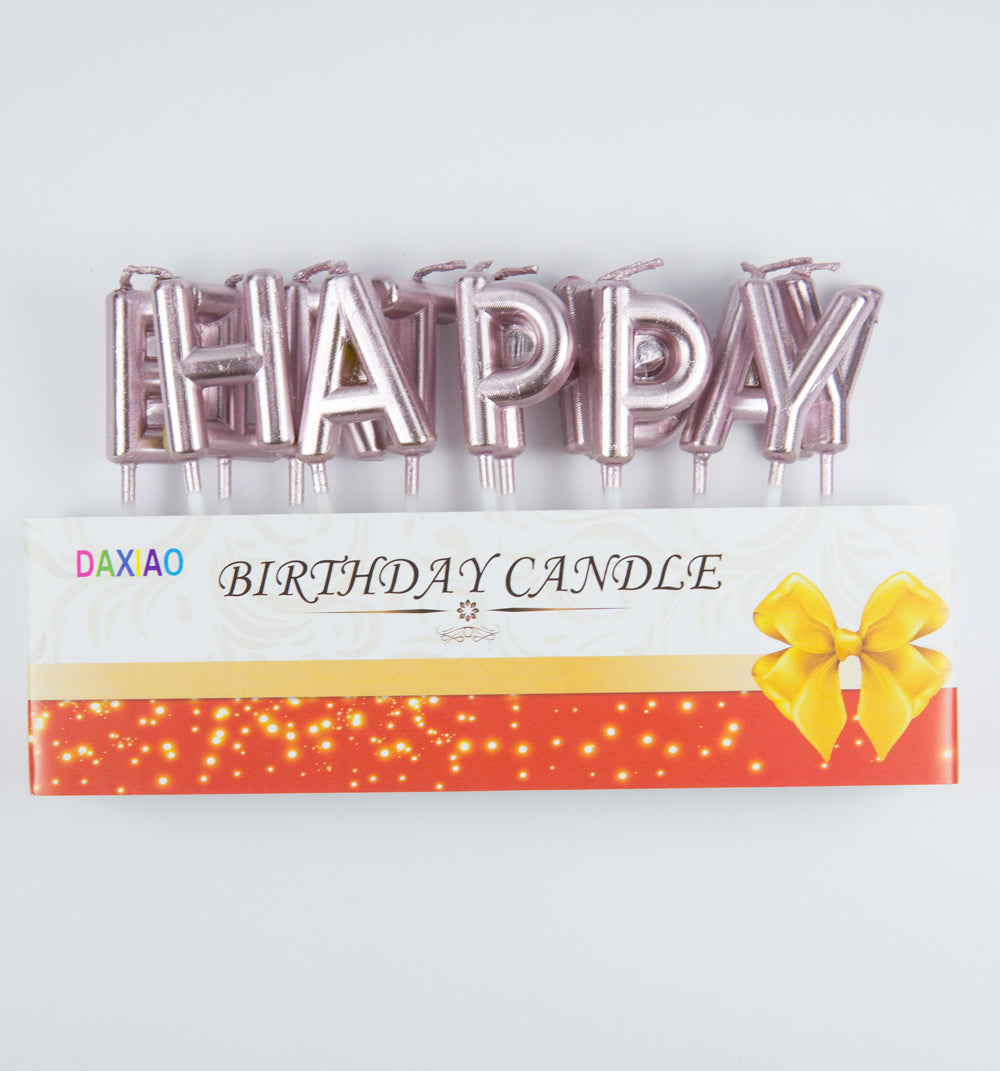 13 Pink Happy Birthday Letter Party Cake Candles