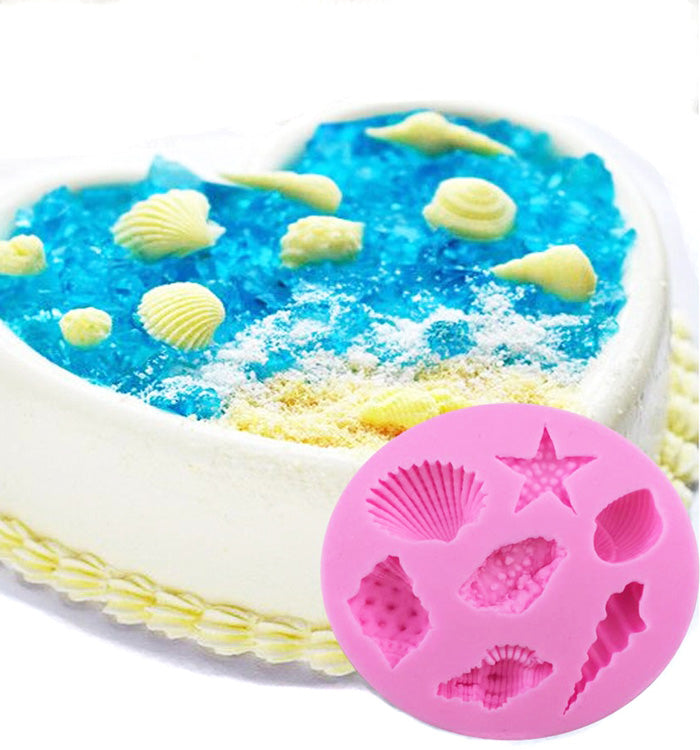7 Starfish & Shells Fondant Silicone Cake Decorating Chocolate Sugar Craft Mould