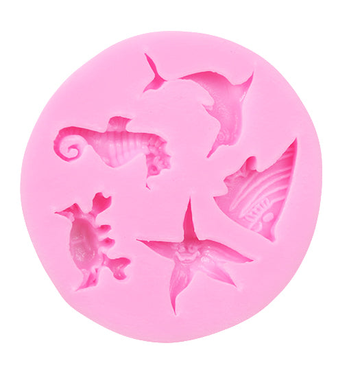 5 Sea Animals Fondant Silicone Pastry Mould For Cake Cupcake Decorating