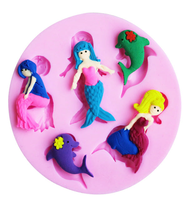 5 Mermaids & Dolphins Chocolate Cake Fondant Flexible Silicone Mould