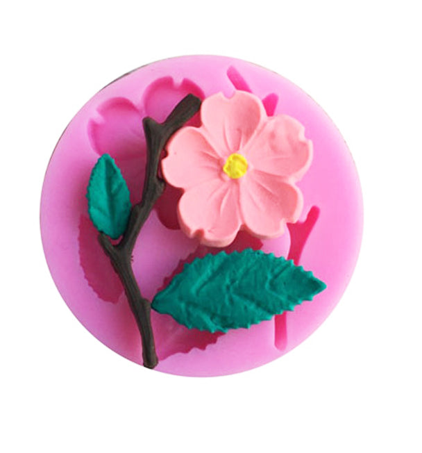 3D Peach Blossom Flower Cake Cookie Sugarcraft Fondant Silicone Mould