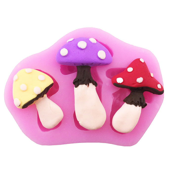 3 Mushroom Fondant Silicone Sugarcraft Cake Chocolate Baking Mould