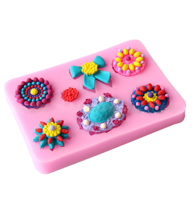 7 Flower & Bow Fondant Birthday Cake Cupcake Chocolate Silicone Baking Mould