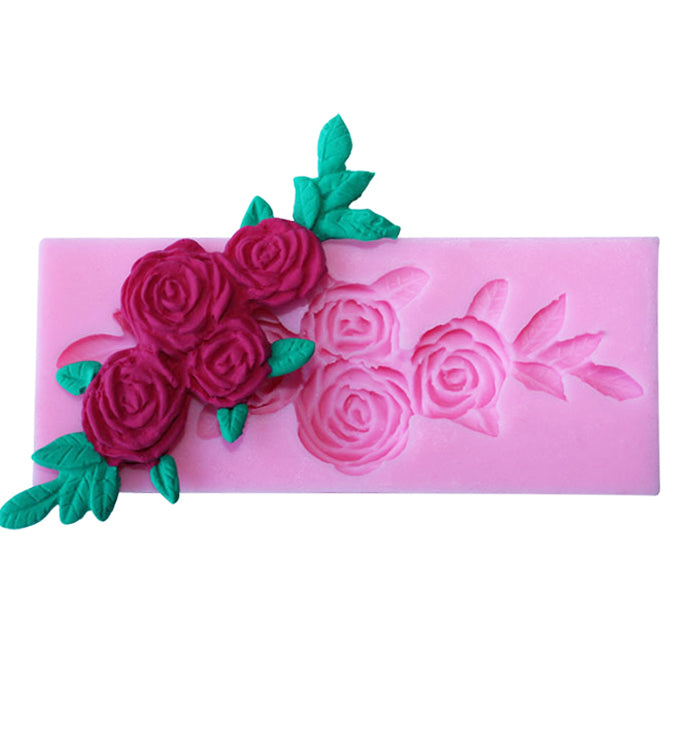 Lace Rose Vine Fondant Silicone Cake Chocolate Border Icing Pastry Mould