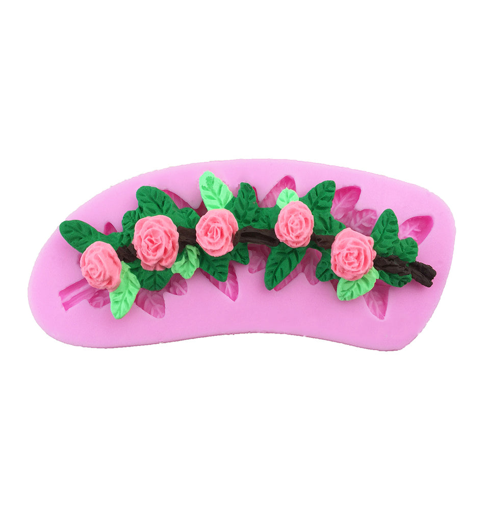 Rose Flower Vine Fondant Silicone Wedding Cake Chocolate Gumpaste Mould
