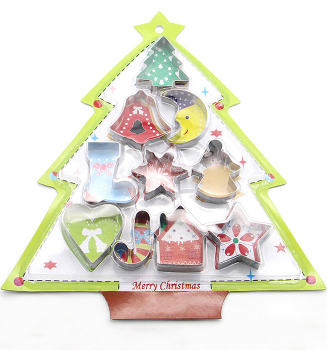 10 PCS Christmas Cookie Cake Fondant Stainless Steel Cutter Mould