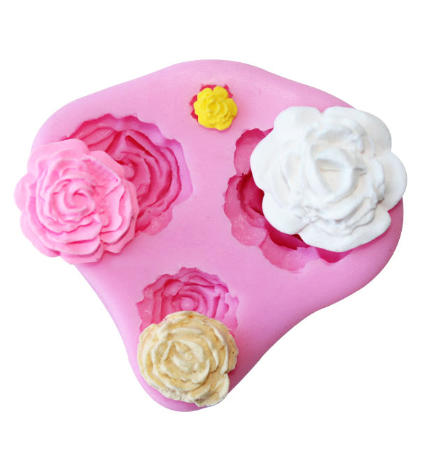 4 Sizes Roses Shape  Silicone Fondant Cake Cupcake Chocolate Mould