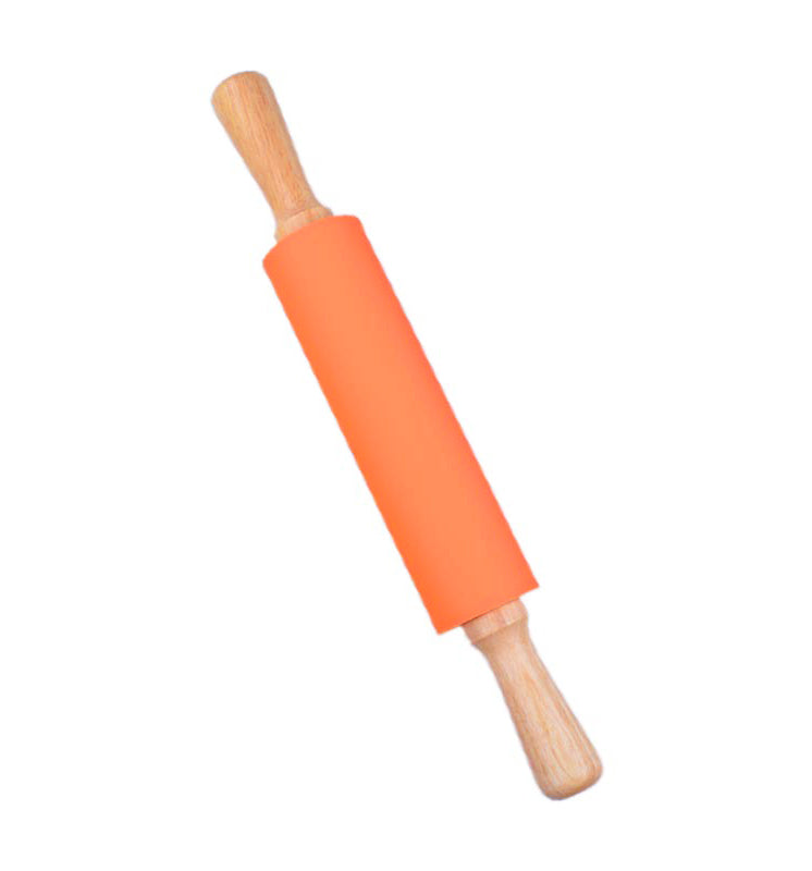 48cm Silicone Rolling Pin Genuine Wood Handles Non-Stick Dough Roller