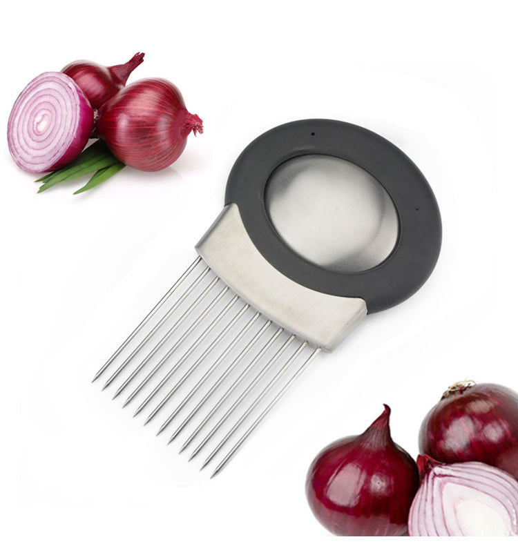 Stainless Steel Soap & Onion Holder Fork Vegetables Meat Slicer Guide Cutter
