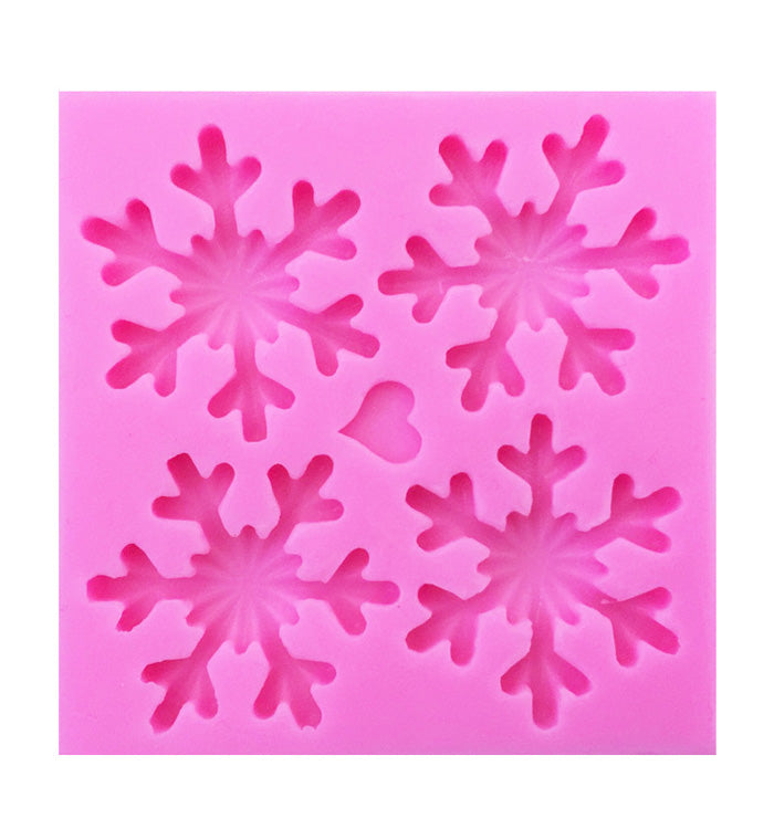 4 Snowflakes Fondant Christmas Cake Cupcake Chocolate Silicone Mould