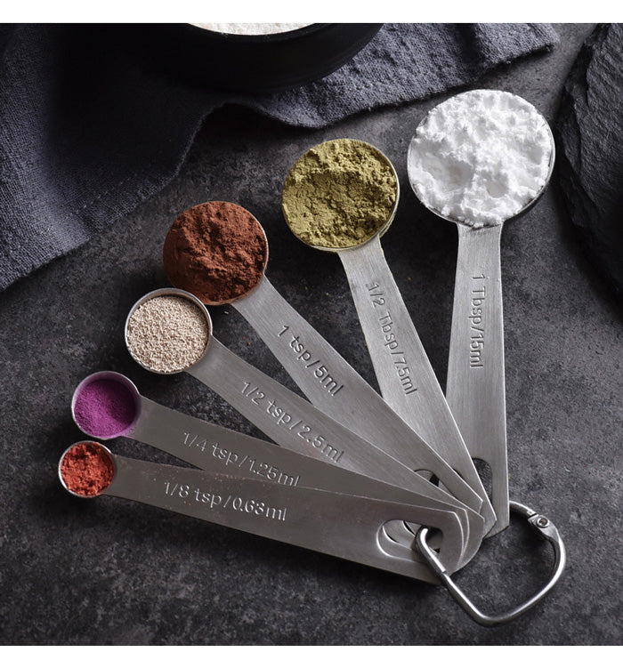 Stainless Steel Measuring Spoons, Set of 6 for Measuring Dry and Liquid Ingredients