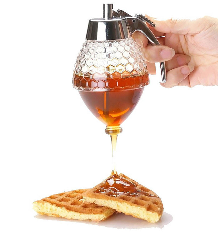 200ML Plastic Honey & Syrup Dispenser Jar Container With Storage Stand