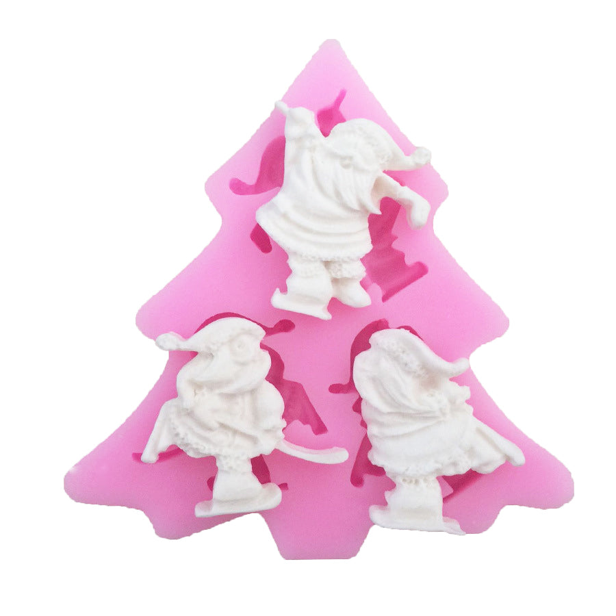 3 Santa Claus Fondant Christmas Cake Cupcake Pastry Silicone Mould