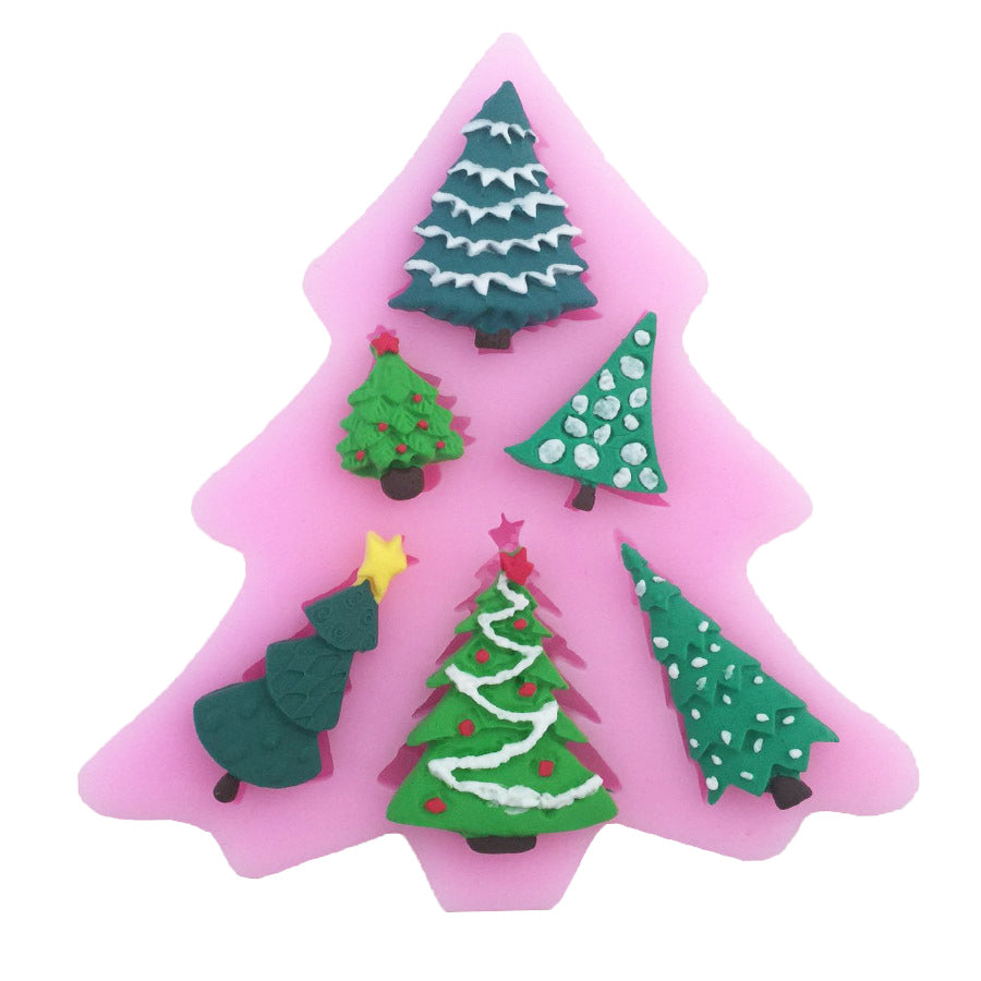 5 Xmas Trees Fondant Christmas Cake Cupcake Pastry Silicone Mould