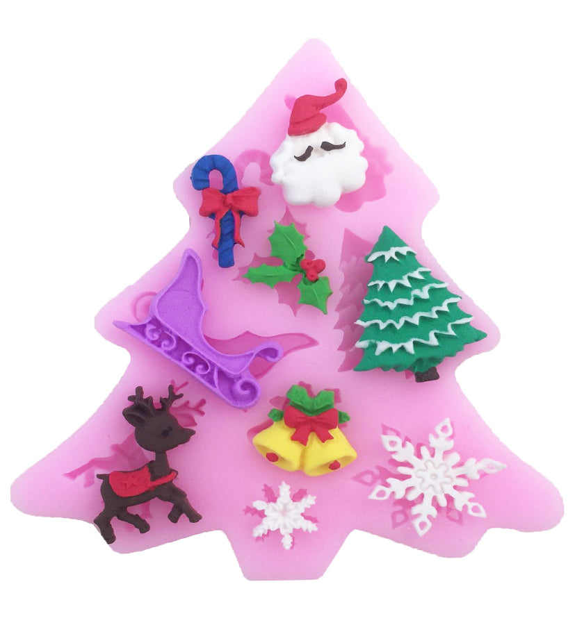 Christmas Decoration Fondant Cake Cupcake Pastry Silicone Mould