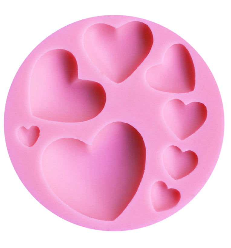8 Hearts Fondant Cake Cupcake Chocolate Silicone Pastry Baking Mould