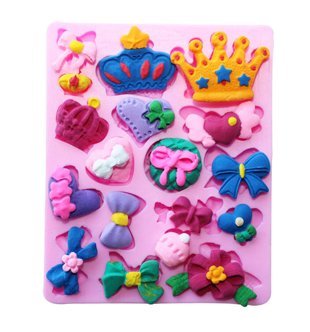 Bows & Crowns Birthday Party Cake Cupcake Fondant Silicone Mould