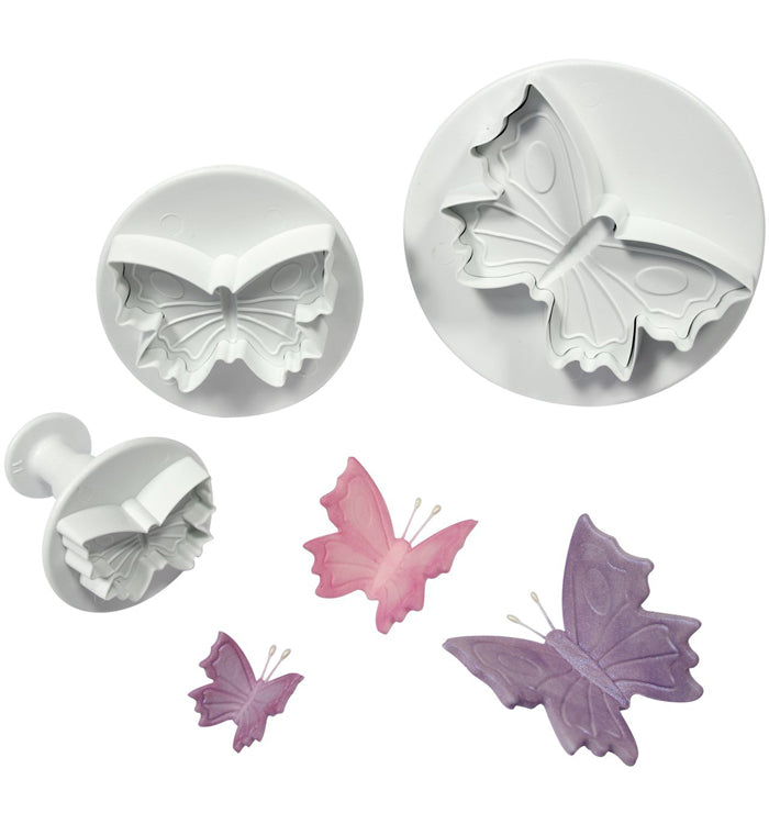 3Pcs Veined Butterfly Fondant Cake Cookie Plunger Cutter Mould