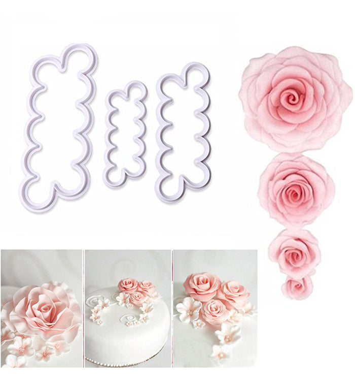 3Pcs/Set 3D Rose Flower Fondant Cake Cutters Mould  Baking Decorating Tools