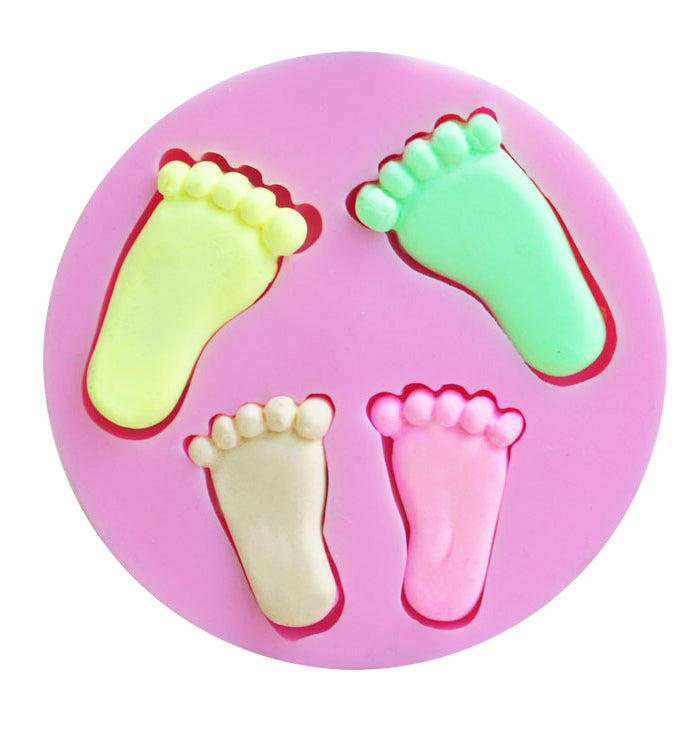 4 Baby feet Fondant Birthday Cake Candy Chocolate Silicone Baking Mold Mould