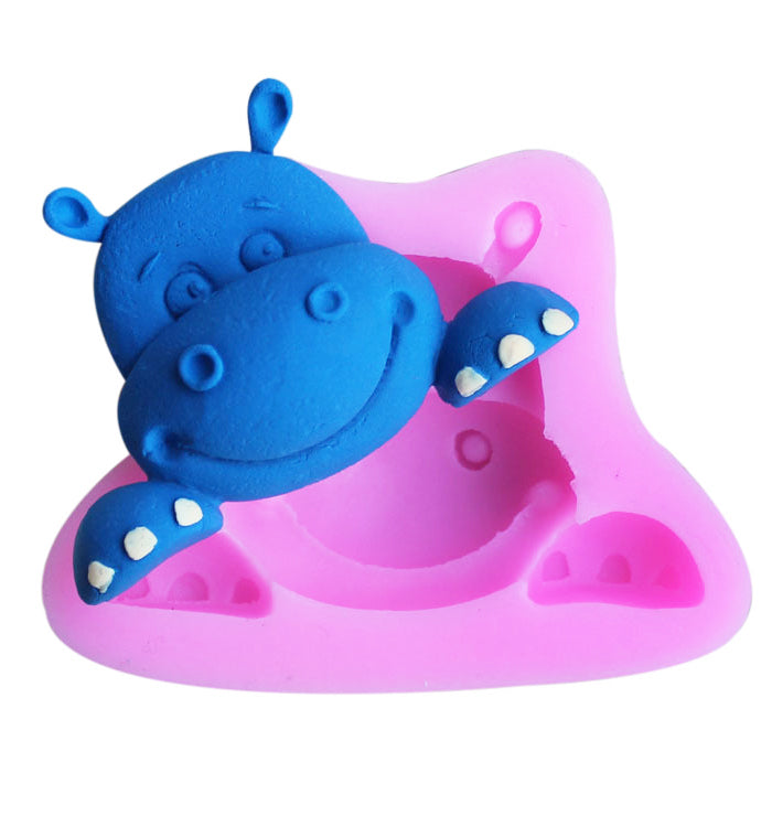 Cute Hippo animal  Fondant Cake Cupcake Chocolate Sugarcraft Silicone Mould