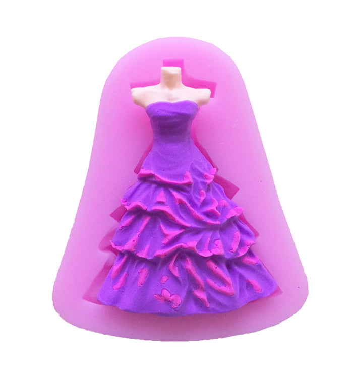 Fashion Formal Dress Silicone Chocolate Fondant Mould For Cake Decoration