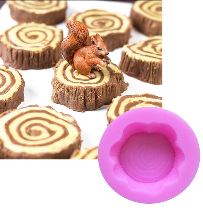Tree Stump Shape Chocolate Fondant Silicone Cake Mould