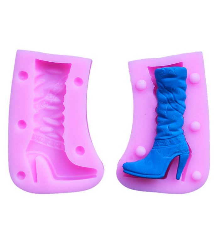 Ladies Fashion Boots Decoration Fondant Cake Cupcake Pastry Silicone Mould