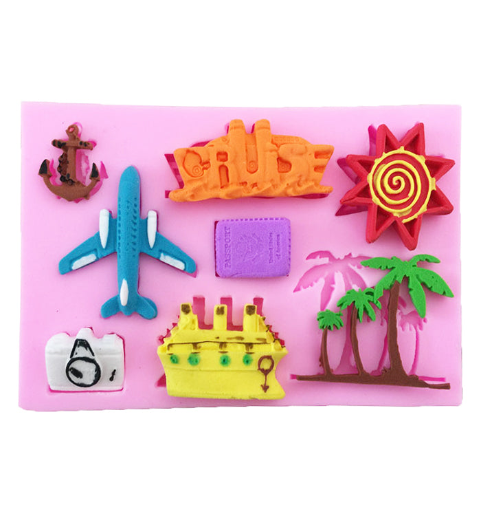 Plane Summer Vacation Silicone Cake Cupcake Fondant Mould