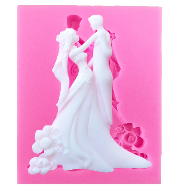 Bride and Bridegroom Silicone Fondant Mould For Wedding Cake Decoration