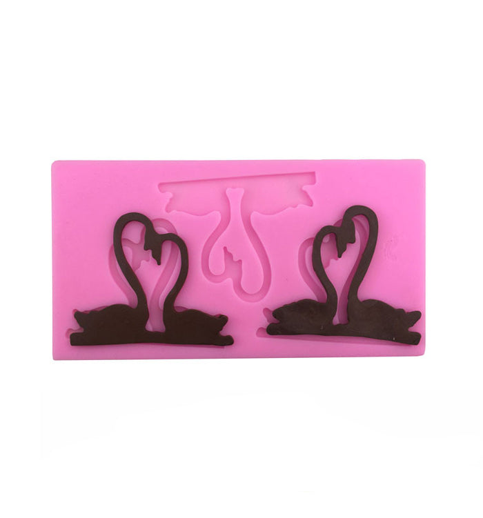 Love Swans Silicone Fondant Mould For Anniversary Wedding Cake Decoration