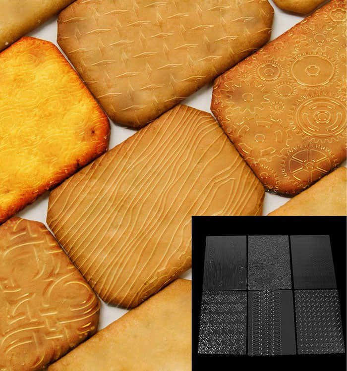 6Pcs Plastic Textured Fondant Mat Wood Texture Embossing Cake Mould