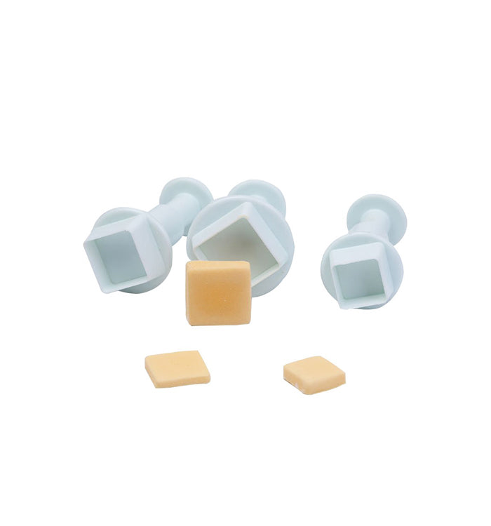 3Pcs Square Blocks Plunger Cutter Cake Decorating Sugarcraft Fondant Moulds